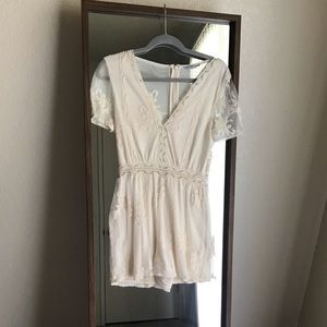 Zara Lace Romper - White/Cream - Size S